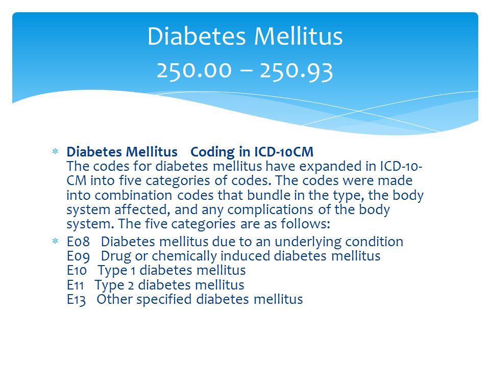 Diabetes Mellitus 250.00 – 250.93