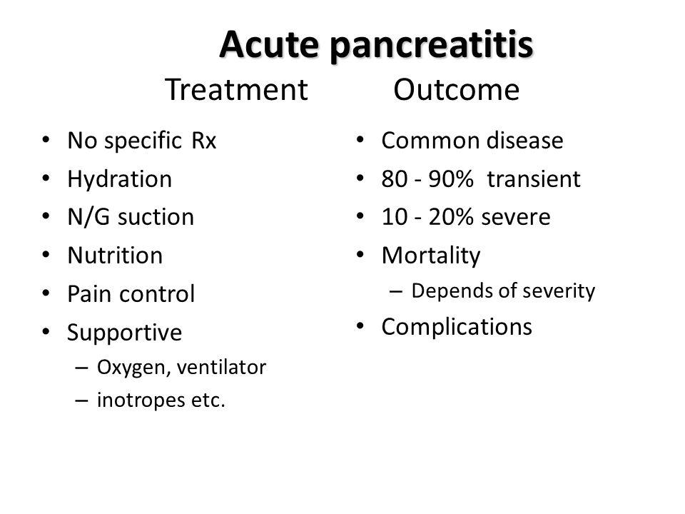 Acute pancreatitis Treatment Outcome