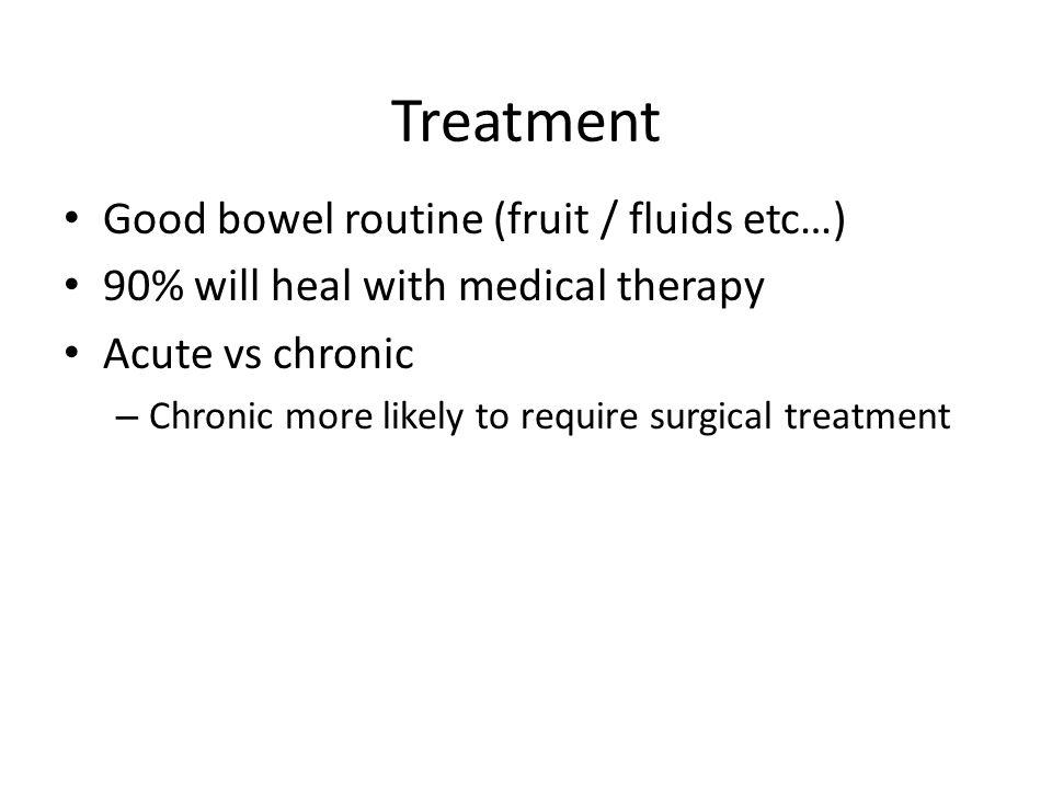 Treatment Good bowel routine (fruit / fluids etc…)