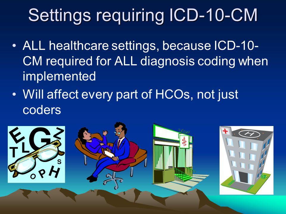 Settings requiring ICD-10-CM