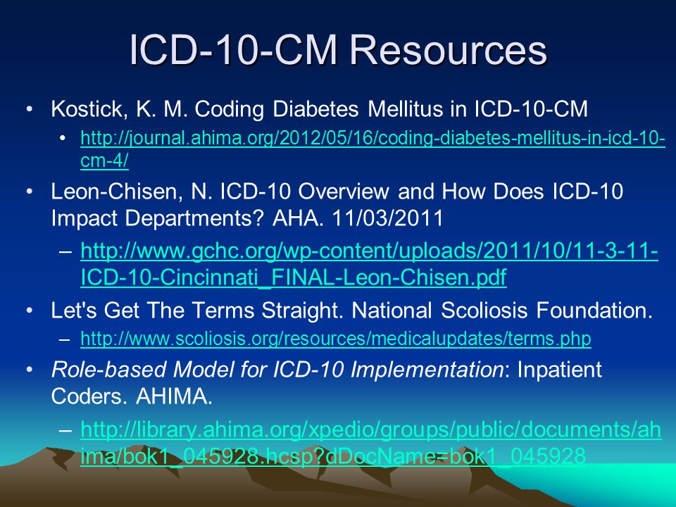 ICD-10-CM Resources Kostick, K. M. Coding Diabetes Mellitus in ICD-10-CM.
