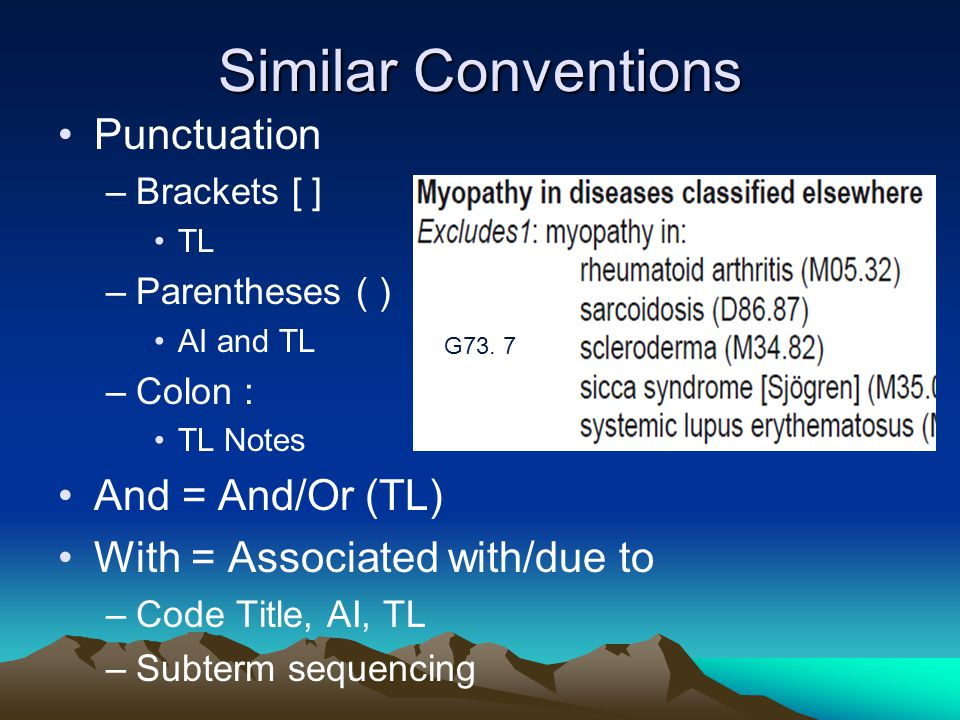 Similar Conventions Punctuation And = And/Or (TL)