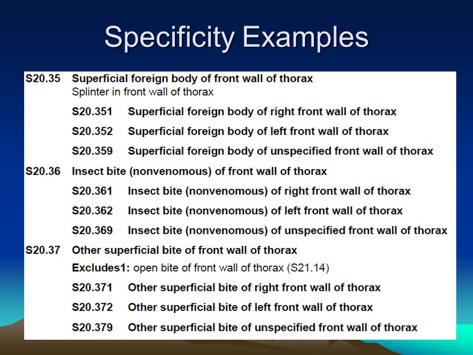 Specificity Examples