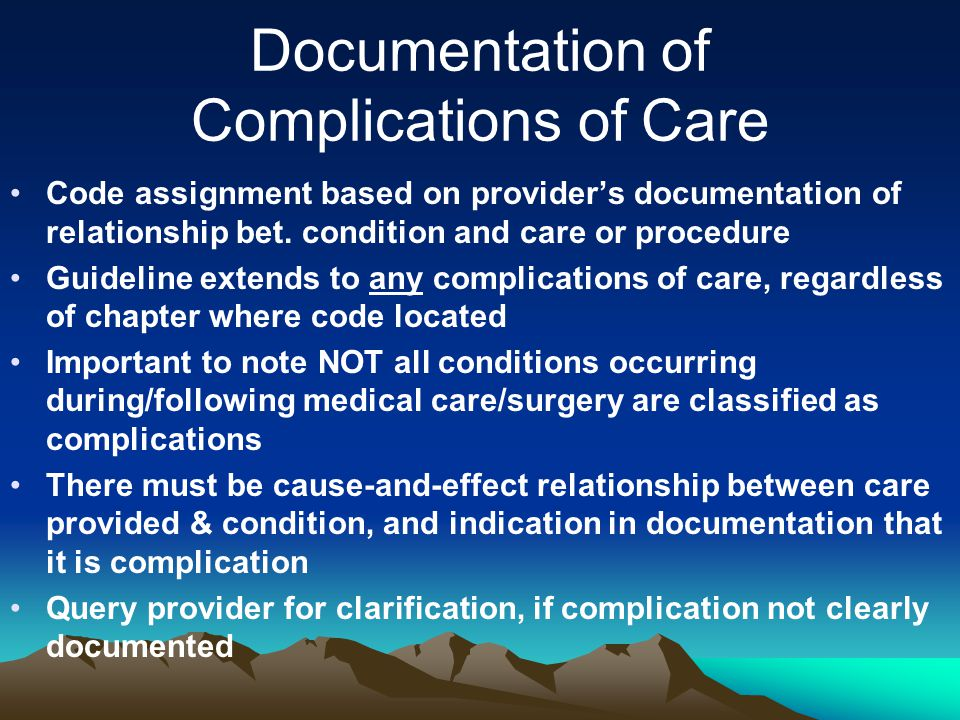 Documentation of Complications of Care