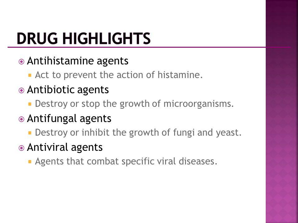 Drug Highlights Antihistamine agents Antibiotic agents