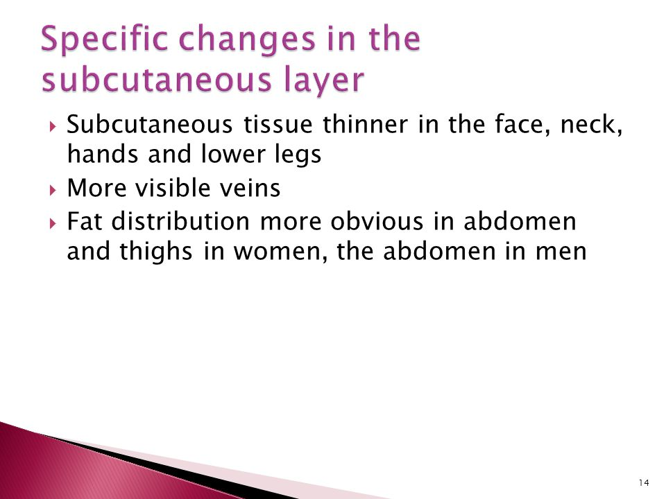 Specific changes in the subcutaneous layer