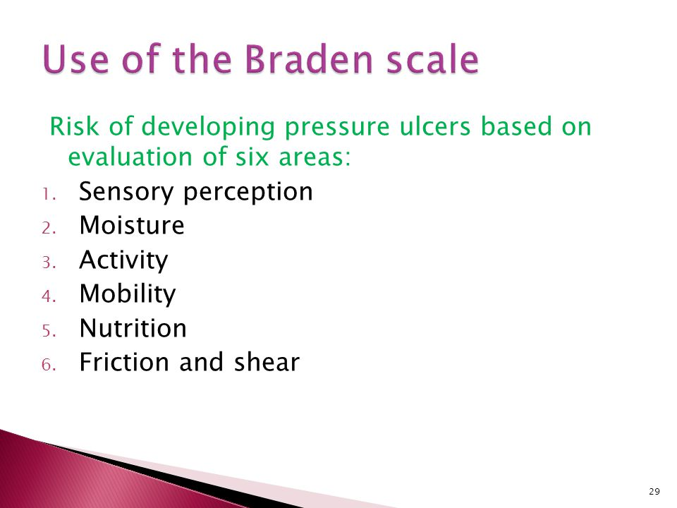 Use of the Braden scale Risk of developing pressure ulcers based on evaluation of six areas: Sensory perception.