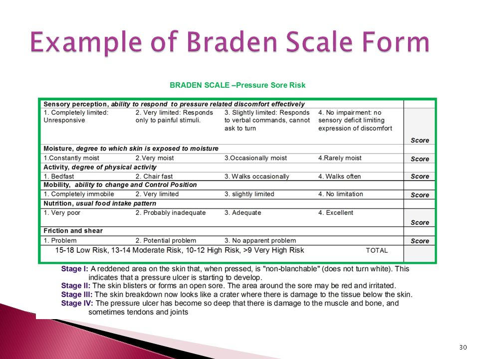 Example of Braden Scale Form