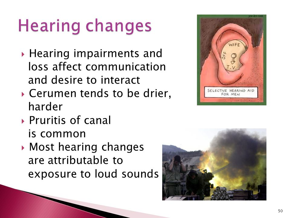 Hearing changes Hearing impairments and loss affect communication