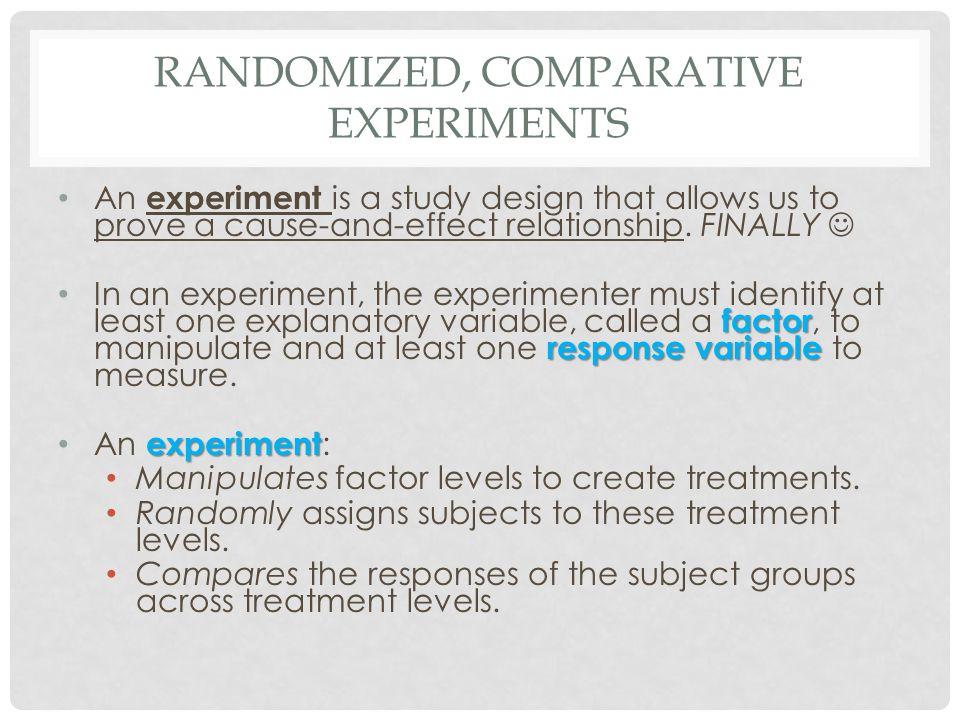 Randomized, Comparative Experiments