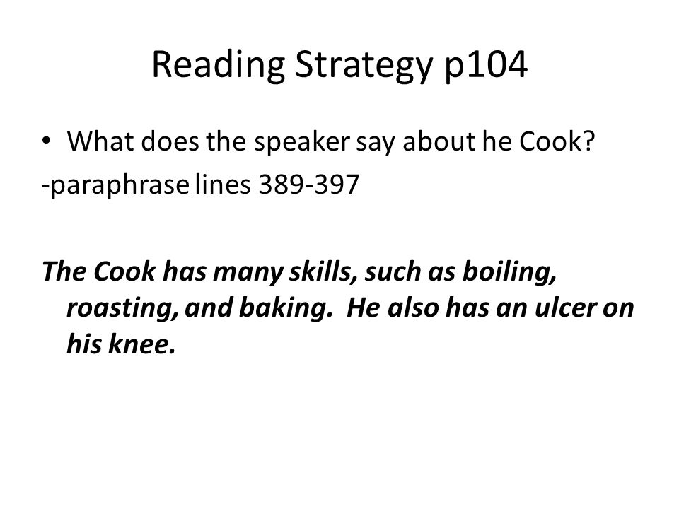 Reading Strategy p104 What does the speaker say about he Cook