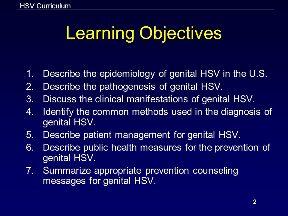 Learning Objectives Describe the epidemiology of genital HSV in the U.S. Describe the pathogenesis of genital HSV.