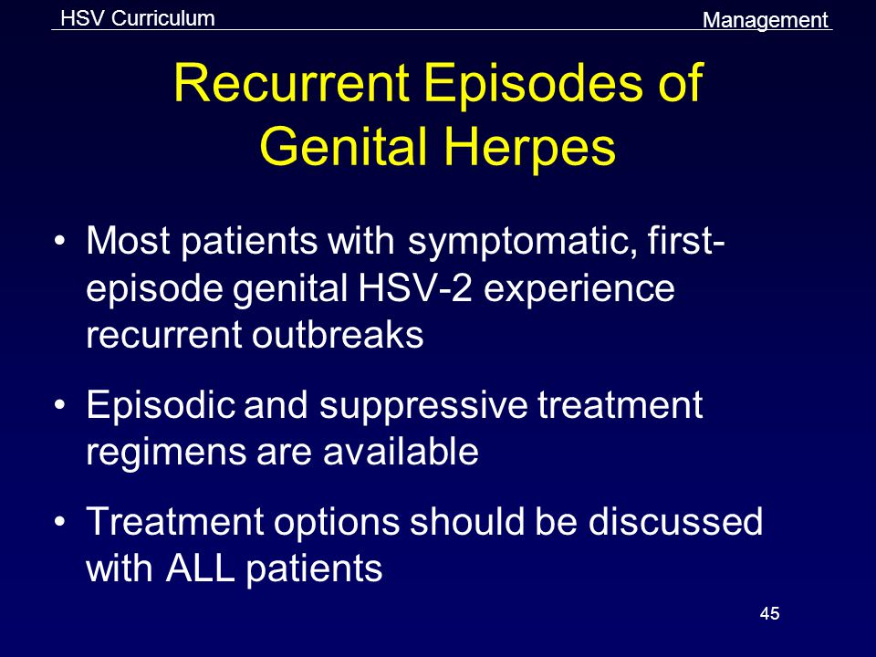 Recurrent Episodes of Genital Herpes