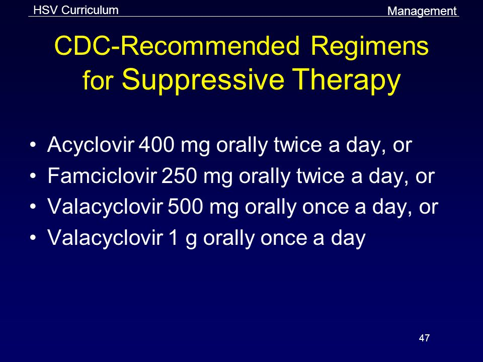 CDC-Recommended Regimens for Suppressive Therapy