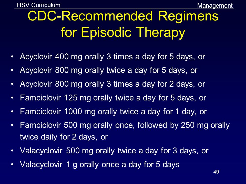 CDC-Recommended Regimens for Episodic Therapy