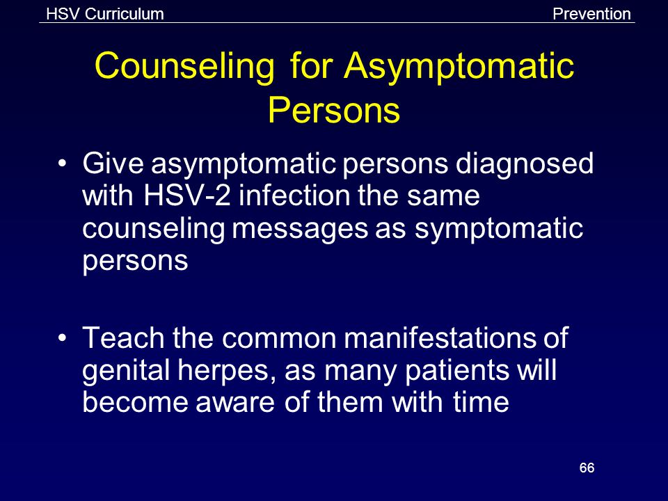 Counseling for Asymptomatic Persons