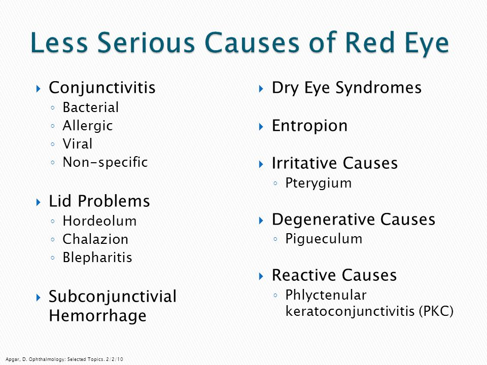 Less Serious Causes of Red Eye