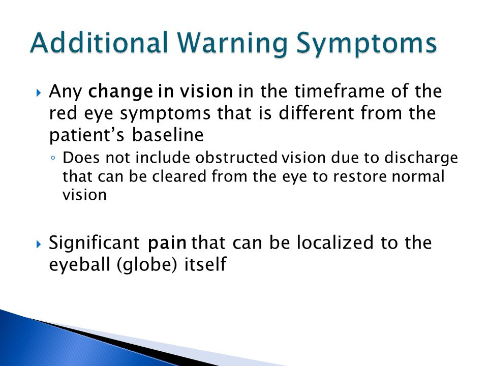 Additional Warning Symptoms