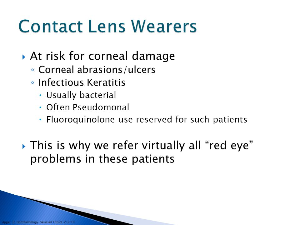 Contact Lens Wearers At risk for corneal damage