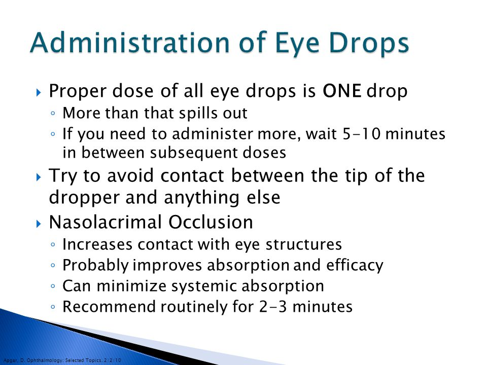 Administration of Eye Drops