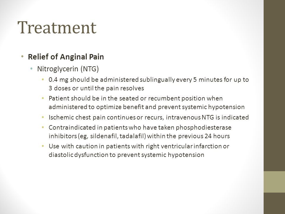 Treatment Relief of Anginal Pain Nitroglycerin (NTG)