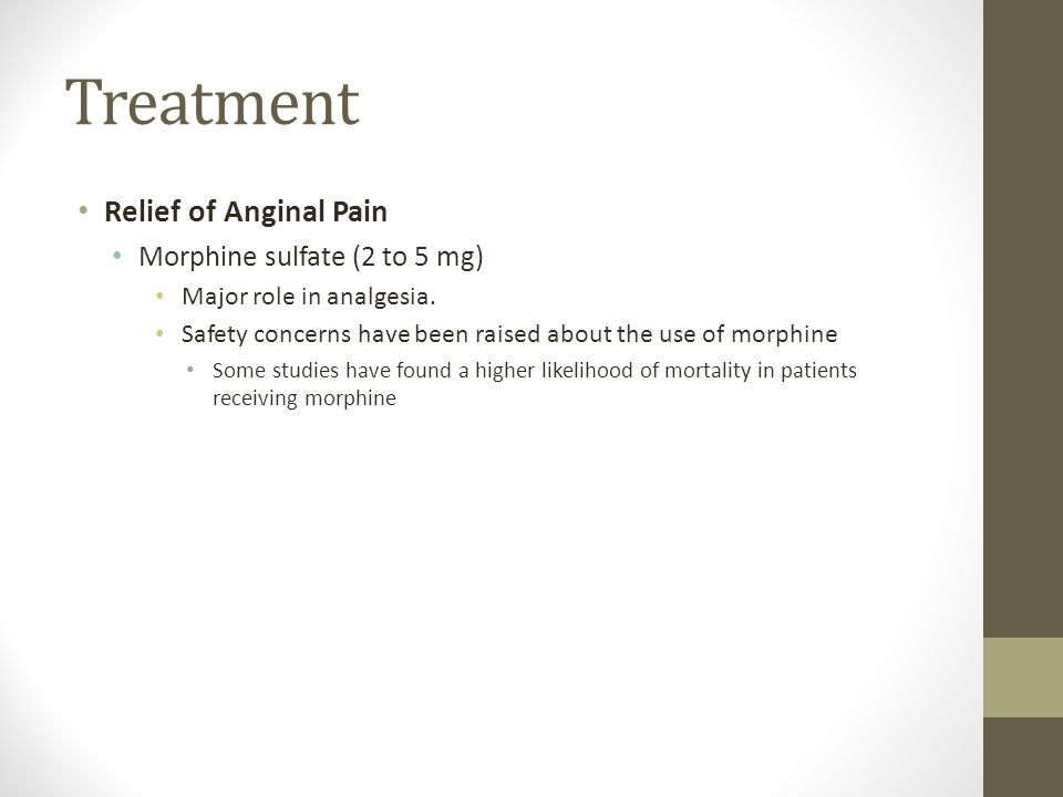 Treatment Relief of Anginal Pain Morphine sulfate (2 to 5 mg)