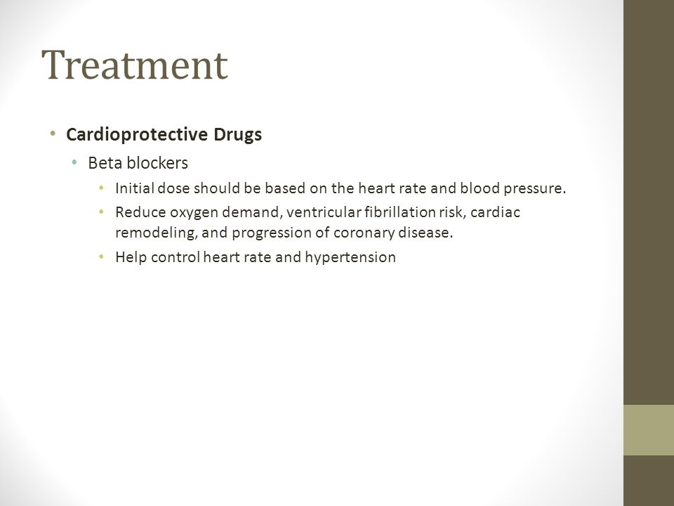 Treatment Cardioprotective Drugs Beta blockers