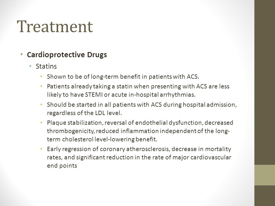 Treatment Cardioprotective Drugs Statins
