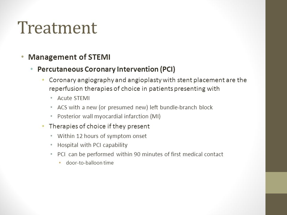 Treatment Management of STEMI Percutaneous Coronary Intervention (PCI)