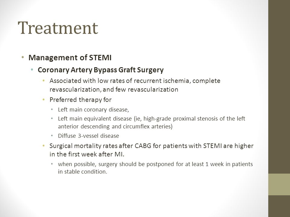 Treatment Management of STEMI Coronary Artery Bypass Graft Surgery