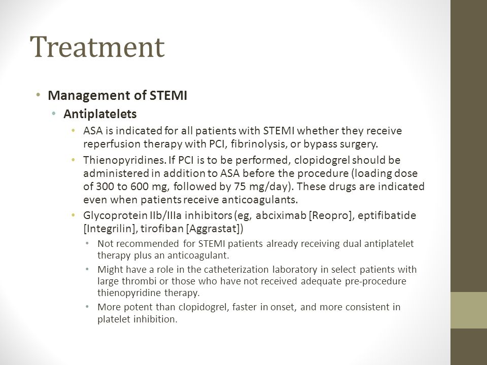 Treatment Management of STEMI Antiplatelets