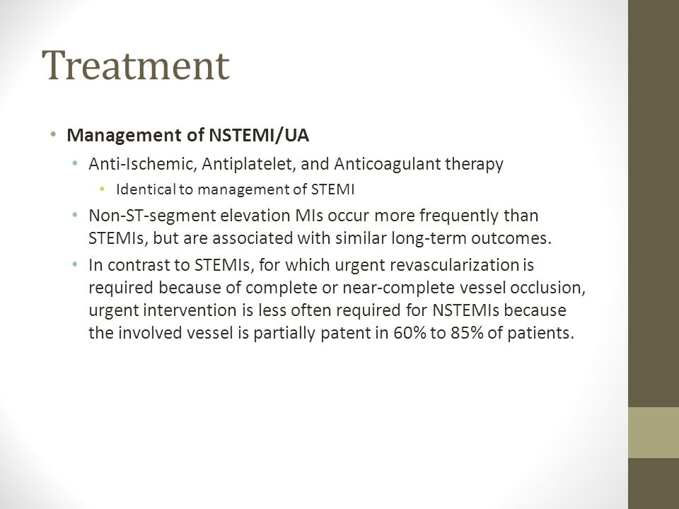 Treatment Management of NSTEMI/UA
