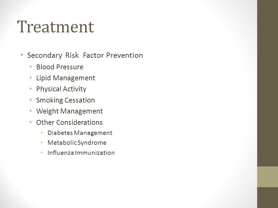 Treatment Secondary Risk Factor Prevention Blood Pressure