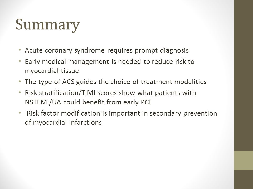 Summary Acute coronary syndrome requires prompt diagnosis