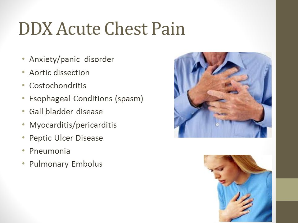 DDX Acute Chest Pain Anxiety/panic disorder Aortic dissection