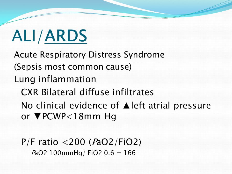 ALI/ARDS Lung inflammation CXR Bilateral diffuse infiltrates