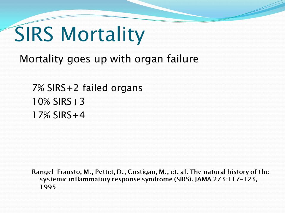 SIRS Mortality Mortality goes up with organ failure