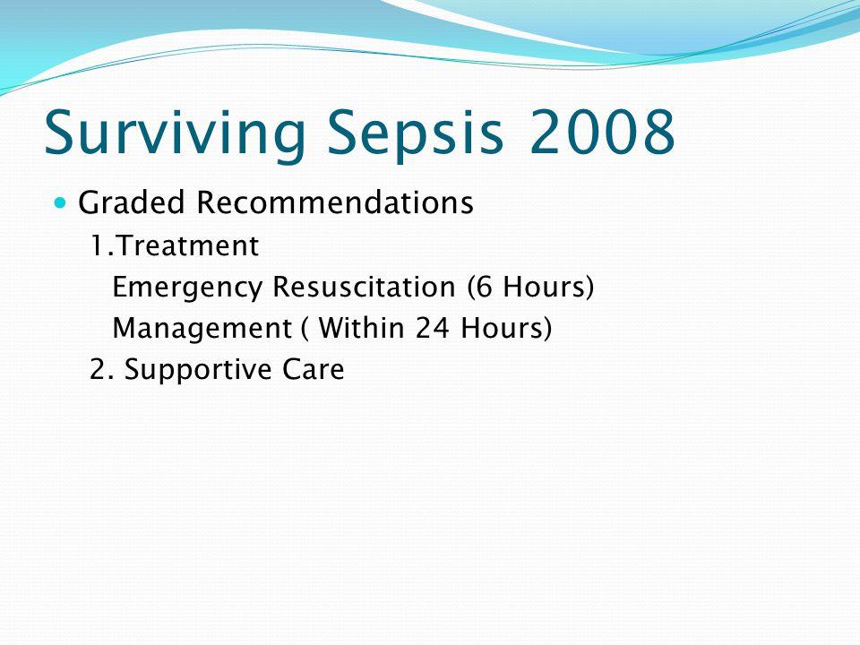 Surviving Sepsis 2008 Graded Recommendations 1.Treatment
