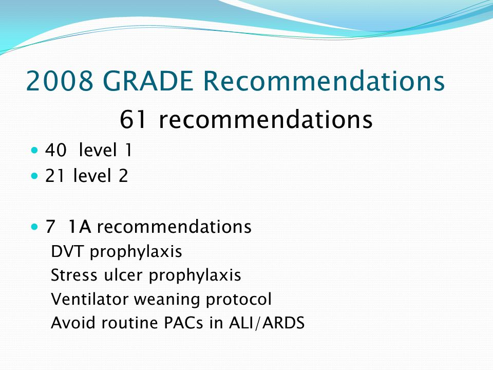2008 GRADE Recommendations