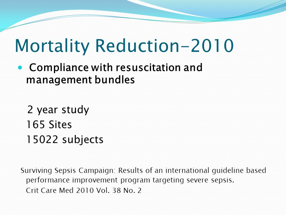 Mortality Reduction-2010 Compliance with resuscitation and management bundles. 2 year study. 165 Sites.