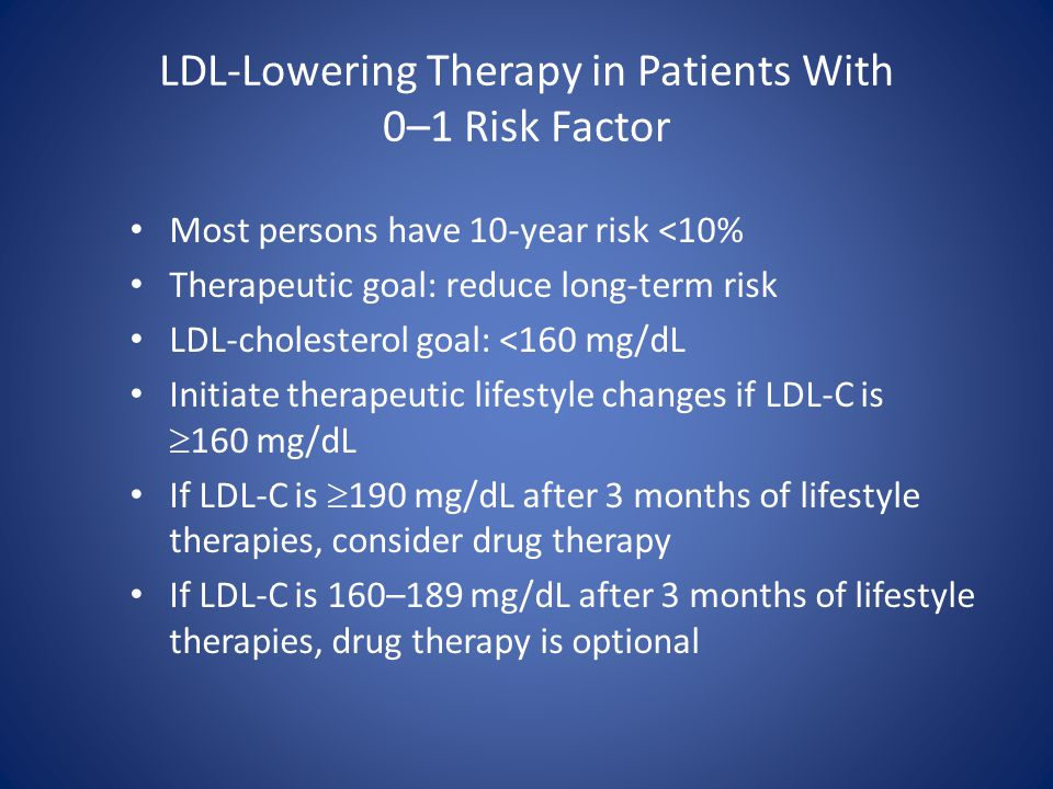 LDL-Lowering Therapy in Patients With 0–1 Risk Factor