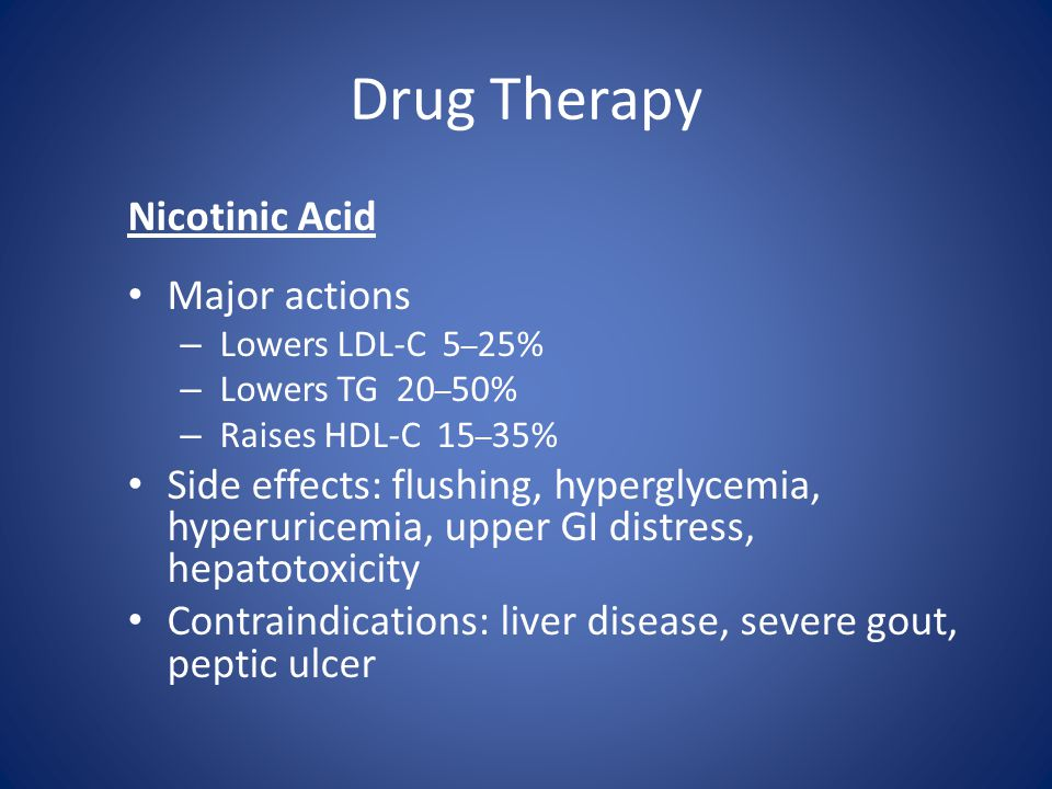 Drug Therapy Nicotinic Acid Major actions