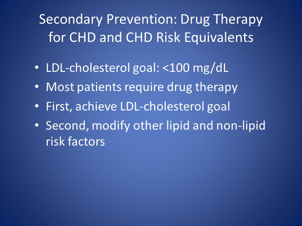 Secondary Prevention: Drug Therapy for CHD and CHD Risk Equivalents