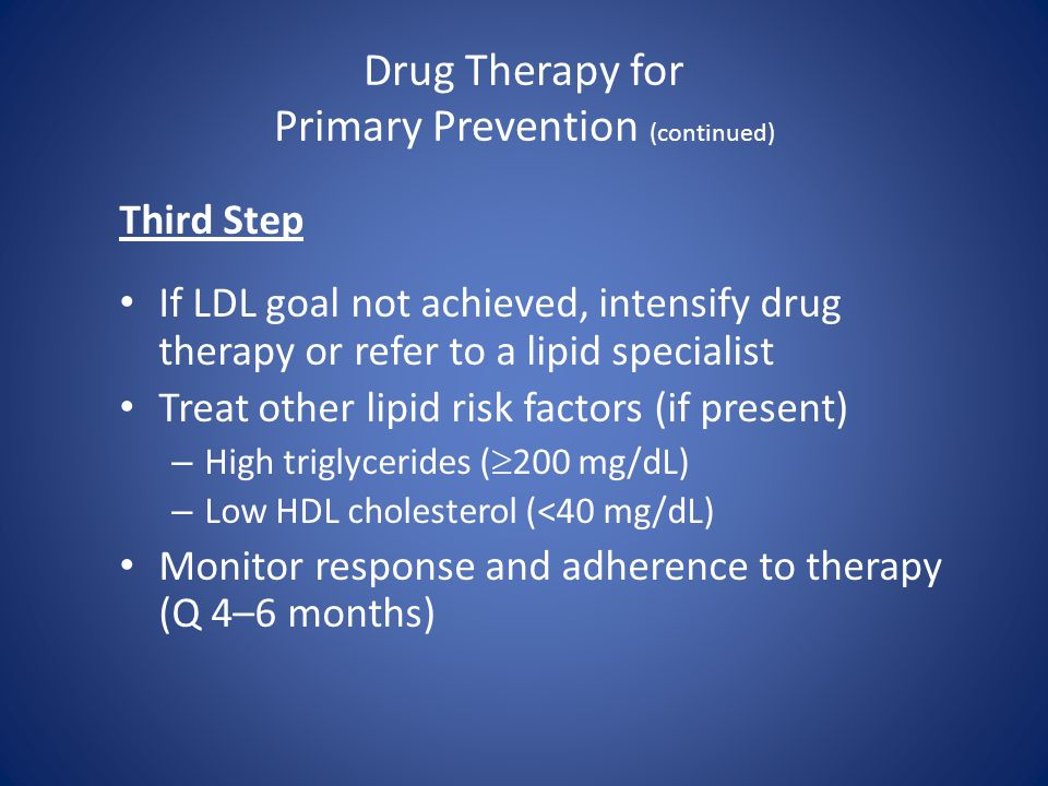Drug Therapy for Primary Prevention (continued)