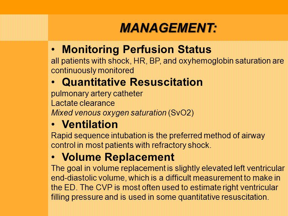 MANAGEMENT: Monitoring Perfusion Status Quantitative Resuscitation