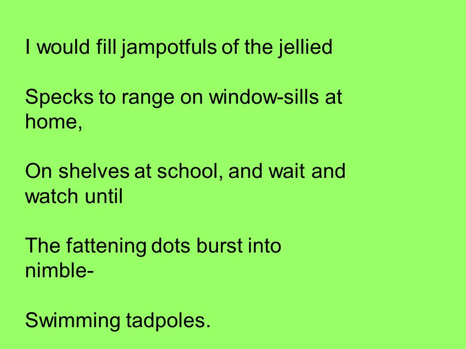 I would fill jampotfuls of the jellied Specks to range on window-sills at home, On shelves at school, and wait and watch until The fattening dots burst into nimble- Swimming tadpoles.
