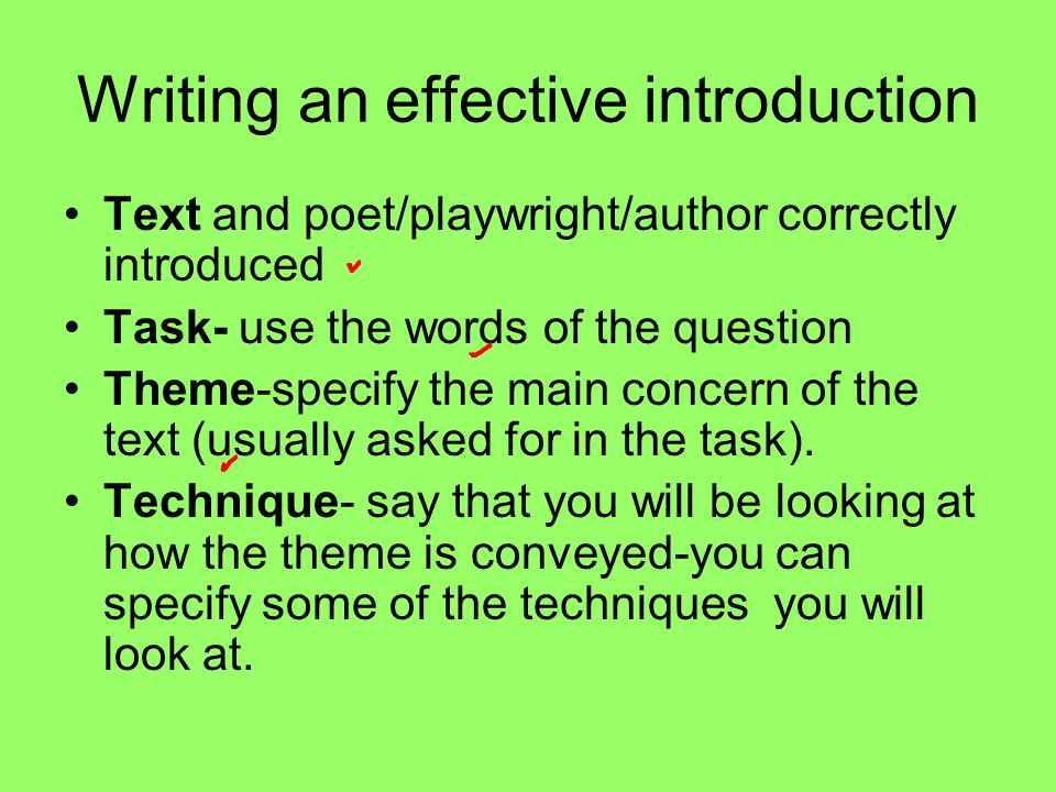 Writing an effective introduction