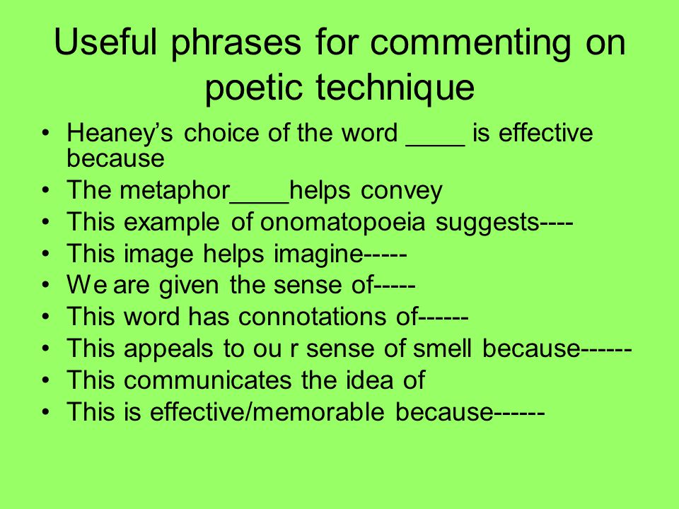 Useful phrases for commenting on poetic technique