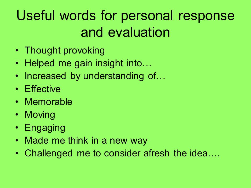 Useful words for personal response and evaluation
