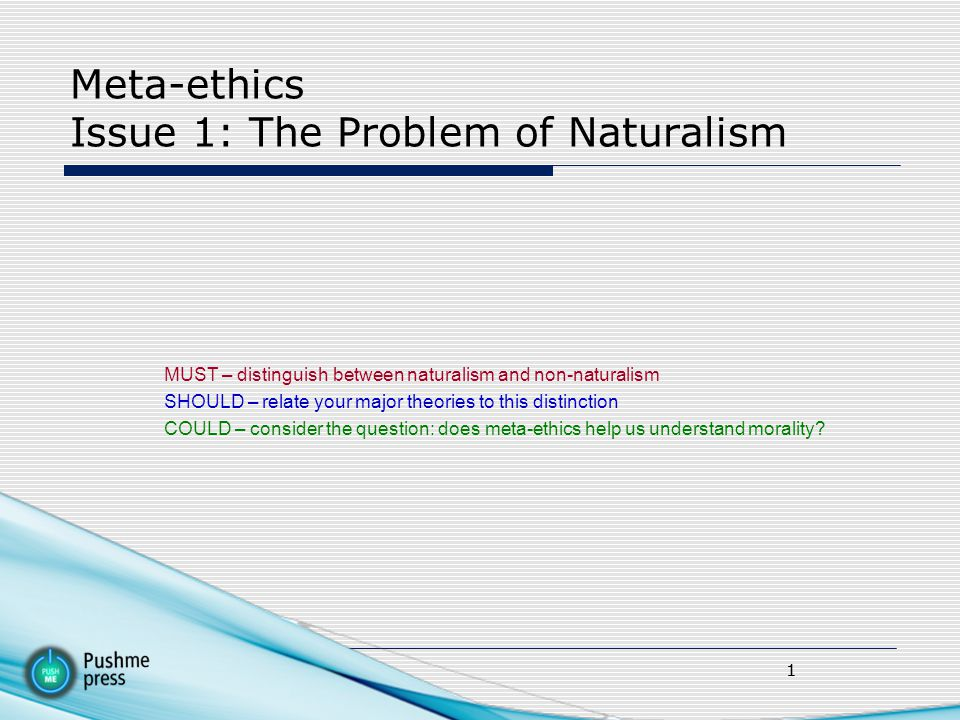 Meta-ethics Issue 1: The Problem of Naturalism